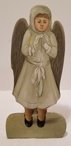 Handpainted Folk Art Wood Victorian Christmas Little Girl Angel Candle S... - $11.64