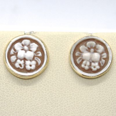 BOUCLES D'OREILLES EN OR JAUNE 18K 750 AVEC CAMÉE COQUILLE ROND MADE IN ITALY