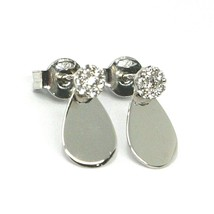 SOLID 18K WHITE GOLD PENDANT EARRINGS DROP WITH FLOWER CUBIC ZIRCONIA ON TOP image 1