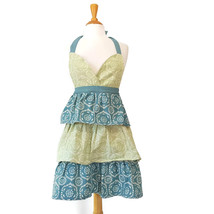 Ruffled Full Apron Tiered Blue Green Print Sweetheart Neck Tie Back Retro - $24.70