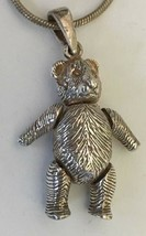 """Vintage Sterling Silver Teddy Bear Articulated Pendant 19"""" Chain Necklace - $30.00"""