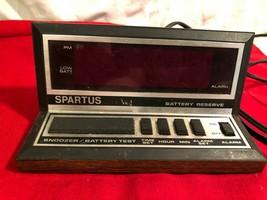 Vintage Spartus Digital Alarm Clock Model 1140 Wood Grain Red Display Retro Work - $4.94