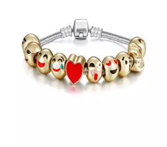 Emoji Charm Bracelet with 10 Gold Plated Charms - 1x w/Random Color and Design