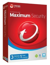 SALE Trend Micro Titanium Maximum Security 2018 2019 1 Year Licence 3 De... - $3.22