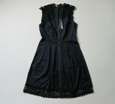 NWT Elie Tahari Cady in Navy Blue Poplin Cotton Lace Trim A-Line Dress 8... - $82.00