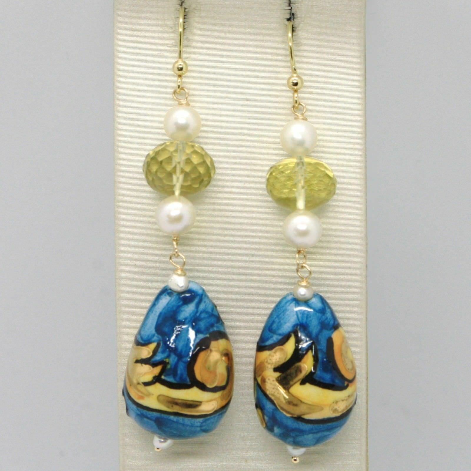 Yellow Gold Earrings 750 18K Pearls and a Drop Painted by hand Made in Italy