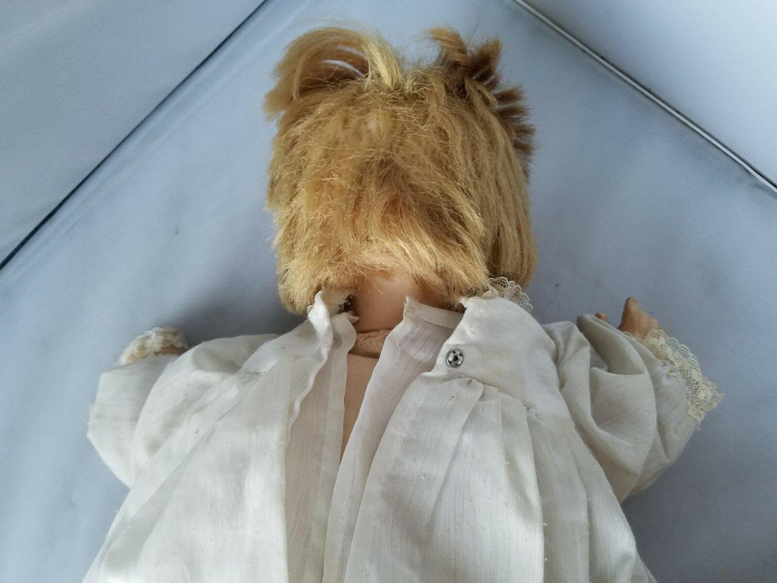 Vogue Dolls 1960's Vintage Baby Doll Blonde Hair Green Eyes White Dress Toy