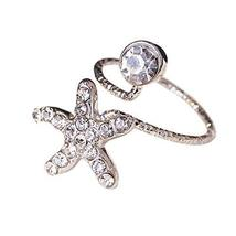 Stylish Finger Nail Ring Nail Decoration Adjustable Joint Ring, Starfish,Silvery
