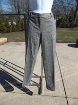NWT ANN TAYLOR LOFT HERRINGBONE GRAY WOOL BLEND PANTS 4P - $29.69