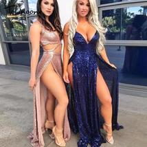 Tobinoone 2018 summer party maxi dress sling evening deep v-neck backles... - $74.80