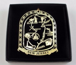 New Jersey Brass Ornament State Landmarks Black Leatherette Gift Box - $14.95