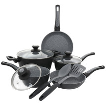 Oster 10 Piece Non-Stick Aluminum Cookware Set in Black and Grey Speckle - $137.64