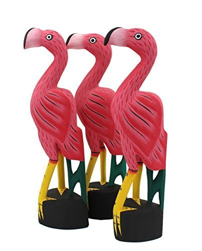 Pink Flamingo Hand Carved Wooden Statues, Set of 3