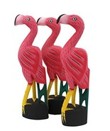 Pink Flamingo Hand Carved Wooden Statues, Set of 3 - $39.99