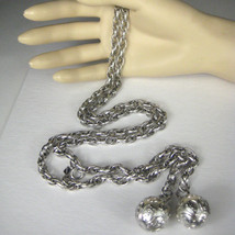 Sarah Coventry Necklace Silvertone 40 Inch Chain Ball Pendants Signed Hang tag - $27.71