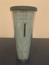 2012 STARBUCKS 24 Oz teal Blue Tumbler No Straw Chiseled Geometric - $9.99