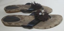 COACH Logo Charm Flat Sandals Flip Flops Brown Patent Leather Serenity Women 8 - $29.45