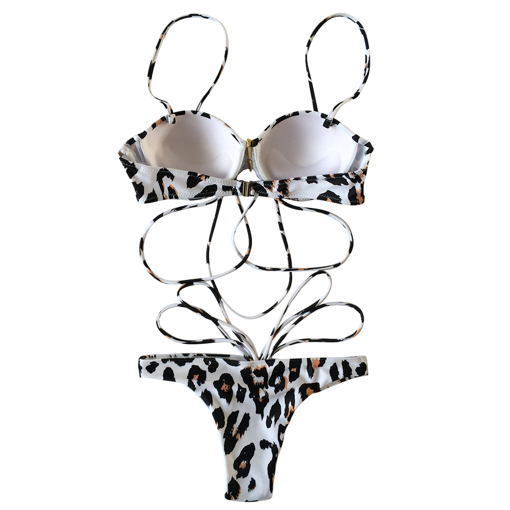 Women's Leopard Printed Push Up Padded Strappy Two Pieces Bikini Set