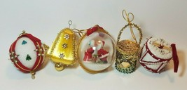5 Vintage Handmade Beaded Sequin Pin Ribbon Embelished Christmas Ornaments - $19.28