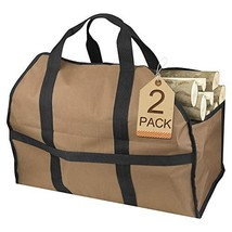 Petutu 2 Pack Firewood Carrier, Large Canvas Log Carriers Tote, Fireplac... - $42.68