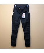 NWT DF leather black leggings Butt Lifting compressing Pants Imported Co... - $52.50
