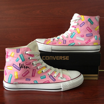 Pink Shoes Converse All Star Design Colorful Candies Hand Painted Sneakers - $155.00