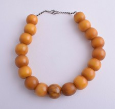 Antique German Bakelite Amber / Trade Beads-Simulated Amber Strand Necklace - $277.20