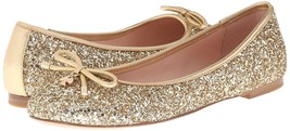 New Kate Spade New York Women's Willa Ballet Loafer Flats Shoes Gold Glitter image 1