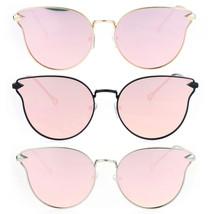 Womens Pink Flat Panel Mirror Lens Retro Metal Horn Rim Sunglasses - $12.95
