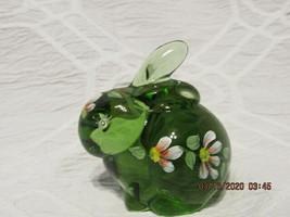 FENTON ART GLASS 2005 FERN GREEN BUNNY FIGURINE W/HP FLORALS-A. FARLEY - $39.99