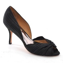 BADGLEY MISCHKA Ruched PUMPS Ladies 7.5 M Black Satin Open Toe Heel Shoes - $28.04