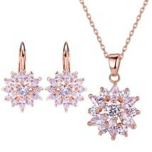 Earring Stud Necklace Jewelry Set Women Favorite Fashion 18K Gold Plated  - $66.78