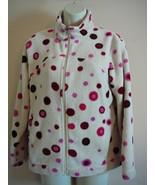Girl's Fleece Jacket Donna Nicole Polyester White Polka Dot Sze 12 - $14.85