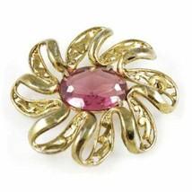 Vintage Large Goldtone Brooch/Pink Stone 1940'S - $29.00