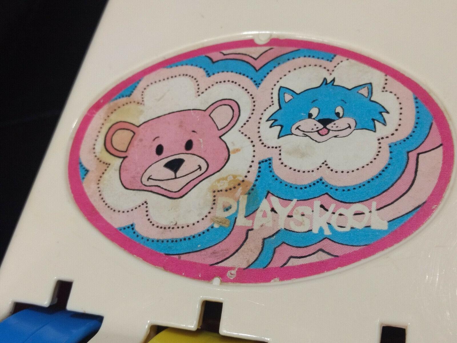 Vintage  Playskool Baby Chimes Toy No. 42 musical roller bear cat orange