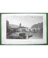GERMANY Bridge near Werra at Munden - CPT BATTY Antique Print Engraving - $9.57