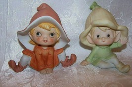 Vintage HOMCO Pixie Elves Figurines #5615 & #5213 Orange Pale Green Recl... - $9.99