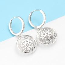 Luxury Diamond Drop Earrings 18k White Gold Female Lace Flower Design image 5