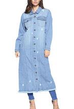 Women's Oversize Long Button Up Distressed Cotton Denim Classic  Jean Jacket image 5