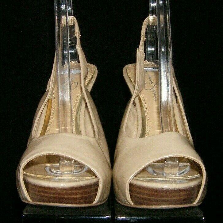 Jessica Simpson Agyness beige peep toe elastic slingback platform heels 10M
