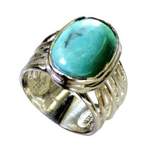Natural Turquoise Sterling Silver Ring For Women Size 5,6,7,8,9,10,11,12... - $29.01