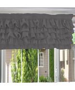 Chiffon LIGHT GREY Ruffle Layered Window Valance any size - $29.99+