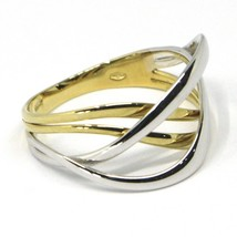 SOLID 18K YELLOW WHITE GOLD BAND RING, WOVEN, TWISTED, ONDULATE MULTI WIRES image 2