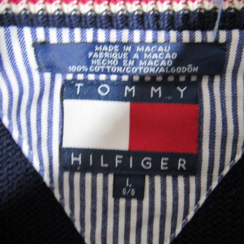 Tommy Hilfiger Pullover Herren Groß L Marineblau Löwe Wappen Schwerer Strick
