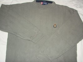 Vintage Chaps Ralph Lauren Crewneck Knit Sweater Crest Logo Gray Large Crew Neck - $15.88