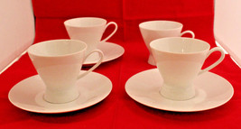 Rosenthal Continental Classic Modern White 4 Coffee Tea Cups 3 Saucer Se... - $50.57