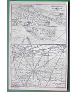 1907 (2) Two MAPS ORIGINAL Baedeker - PARIS Chantilly Town & Castle France - $4.73