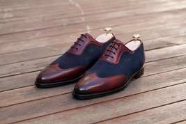 Handmade Men's Burgundy and Blue Wing Tip Dress Oxford Suede & Leather Shoes image 1