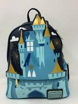 Disney Parks Magic Kingdom Cinderella Castle Loungefly Mini Backpack WDW Blue - $90.58