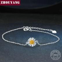 ZHOUYANG Handmade Chrysanthemum Flower Shape 100% 925 sterling Silver Bracelet S - $10.73